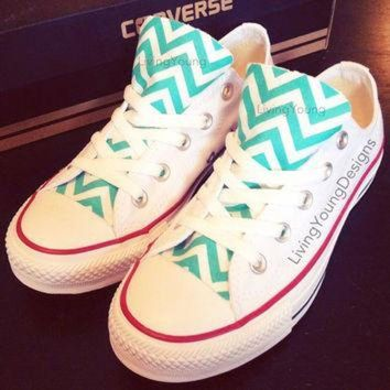 DCCKHD9 Chevron Converse Low Top Sneakers Aqua Blue White Custom Chuck Taylors