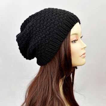 Black Slouchy Beanie, Slouchy Hat, Beanie, Hand Knit Beanie, Slouchy Beanie Hat, Chunky Hat, Sacking Hat, Hipster Hat, Baggy Hat, Women Hat