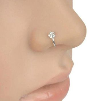 ac DCCKO2Q Small Thin 5 Rhinestones Flower Piercings Nose Hoop Stud Ring Body Piercing  nose rings Jewelry Decoration Gift Pendant Ornament