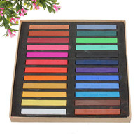 24 Colors Non-toxic Temporary Color Chalk Square Hair Chalks Dye