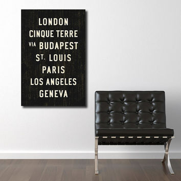 CUSTOM Canvas Transit Sign. Personalized Word Art. Tram Roll Typography Poster. Bus Scroll Wall Hanging. 24 x 36