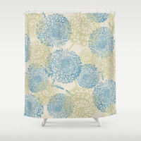 blue and green flowers Shower Curtain by sylviacookphotography