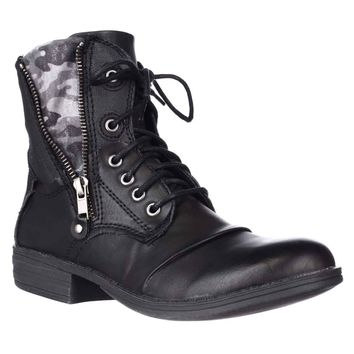 AR35 Bunkker Lace-Up Casual Ankle Boots, Black, 10.5 US