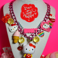 Sweet Rainbow Hello Kitty Chunky Yummy Kawaii Necklace by Kawaii4U