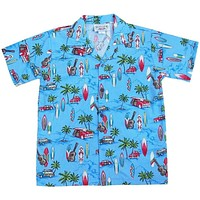 beach time blue boy hawaiian shirt