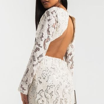 Open Back Long Sleeve Cutout Side Sequin Mini Dress in Off White