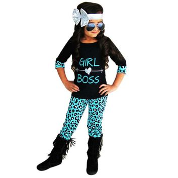 Girl Boss w/ Heart Leopard 2PCS Toddler Kids Girls Outfit Set, Long Pants & Half Shirt