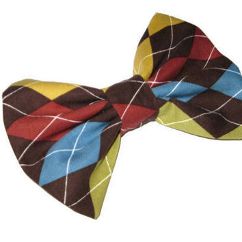 Argyle hair bow, womens and girls fabric bows, classic tuxedo style bow, teen tween preppy modern