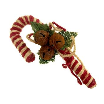 Small Jute Candy Cane with Rustic Jingle Bells Christmas Decoration, 7-1/2-Inch