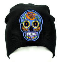 Blue Sugar Skull Beanie Day of the Dead Clothing Knit Cap