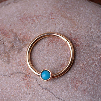 SEPTUM RING / EAR /Cartilage 14k gold filled with genuinTurquoise. Handcrafted
