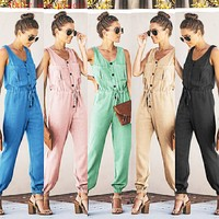 Best selling spring and summer new women's chiffon sleeveless V-neck waist jumpsuit(Only one piece)