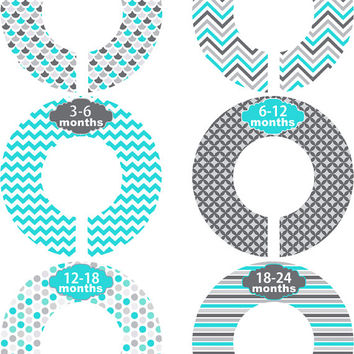 Custom Baby Closet Dividers Girl Boy Teal Grey Chevron Stripe Color Nursery Closet Dividers Baby Shower Gift Baby Clothes Organizers Baby