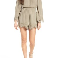 ASTR the Label Gauze Scallop Hem Romper | Nordstrom