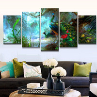 5 Pcs/Set Animal Peacock Flower Painting Retro Oil art Print Picture On Canvas Living Room Poster Home Decor Gift Unframed