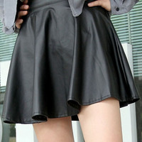 High-Waisted Leather Skater Skirt