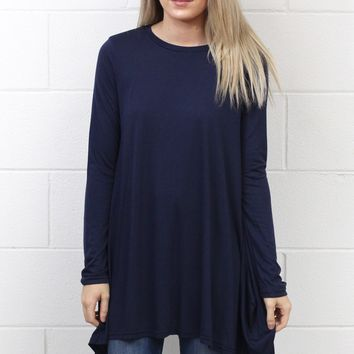 Long Sleeve High Neck Tunic Top {Navy}