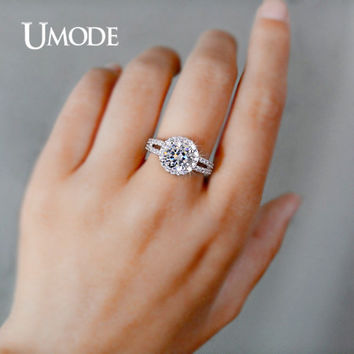 UMODE Wedding Rings White Gold Color Jewelry For Women 2 Carat AAA+ Cubic Zirconia 2 Bands Vintage Halo Engagement Rings UR0021