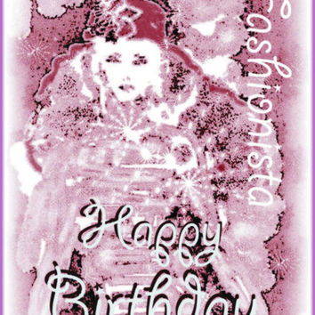 Instant Download Plum Fashionista Happy Birthday E Card For That Special Teen Or Girl Friend