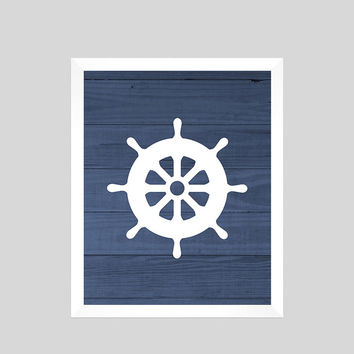 White Nautical Wheel on Navy Wood Print Nursery Decor Baby Print CUSTOMIZE YOUR COLORS 8x10 Prints Nursery Decor Art Baby Room Decor Kids