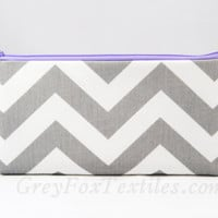 light purple zipper pouch gray chevron makeup brush holder, pencil case, clutch, cosmetic bag
