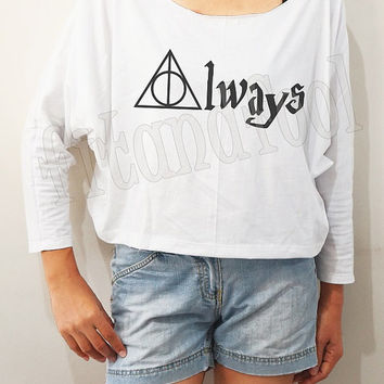 Always Deathly Hallows Shirts Harry Potter Shirts Bat Sleeve Shirt Crop Shirts Long Sleeve Tee Oversized Sweatshirt Women Shirt - FREE SIZE