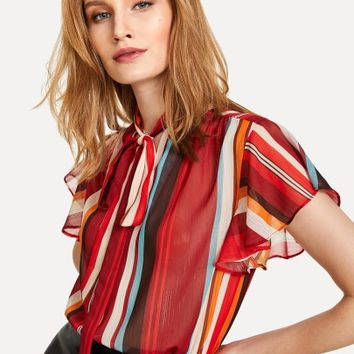 Flutter Sleeve Tied Neck Striped Blouse -SheIn(Sheinside)