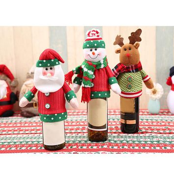 Merry Christmas Wine Bottle Cover Christmas Dinner Table Decor Wine Bottle Caps Christmas Ornaments New Year Decoration