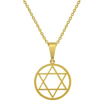 18k Gold Plated Star of David Judaica Pendant Necklace Jewish Religious 19""