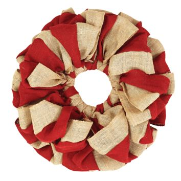 Red and Natural Burlap Wreath 20""