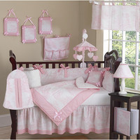 Sweet Jojo Designs Pink Toile Collection 9pc Crib Bedding Set