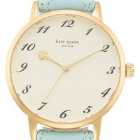 Women's kate spade new york 'metro' quilted leather strap watch, 34mm - Light Blue