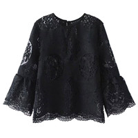 Black 3/4 Sleeve Sheer Lace Blouse
