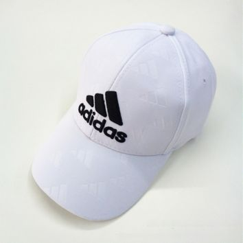 White Adidas Embroidered Sports Baseball Cap Hats