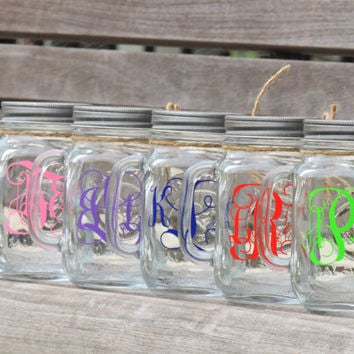 Glass mason mugs, Monogrammed mason mugs, party mason mugs, mason jar mugs, jars with straws, wedding mason jars