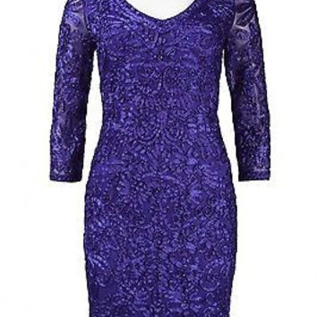 Women's Designer Sue Wong Sapphire Sheath Mesh satin embroidered Dress All Sizes