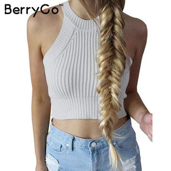 ICIKHY9 BerryGo chic knitted halter bustier crop top Women summer beach sexy white camis Off shoulder elastic tube tank tops knitwear