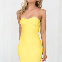 Gossip Girl Bandage Dress in Yellow | BLACKSWALLOW Fashion Online Shopping - Blackswallow Boutique