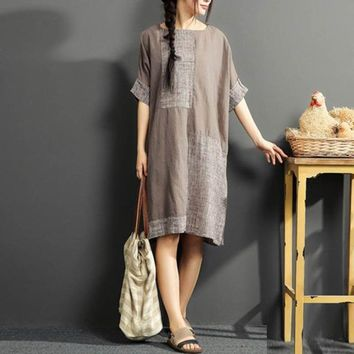 Classic Straight Neck Cotton Linen Knee-Length Patchwork Dress