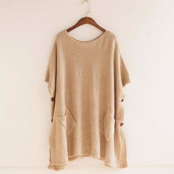 Autumn new models loose solid color pullover Sweater top blouse shirt