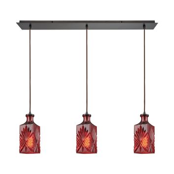 Giovanna 3 Light Linear Pan Fixture In Oil Rubbed Bronze With Wine Red Decanter Glass