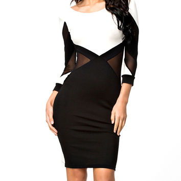 Black and White Long Sleeve Backless Bodycon Dress