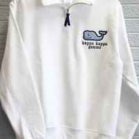 White Quarter Zip with fabric whale and sorority embroidered (m2)