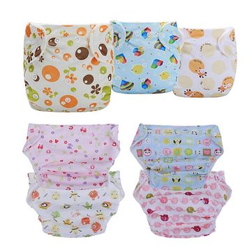 Baby Diapers Infant Cartoon Pattern Washable Soft Cloth Diaper Covers Newborn Training Panties Kids Colored Cotton Diapers Nappy
