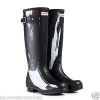HUNTER NIGHTFALL BLACK WHITE ORIGINAL WELLINGTON BOOTS BLACK Welly BN SHOES
