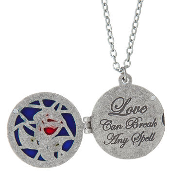 Disney Beauty And The Beast Stained Glass Rose Locket Necklace