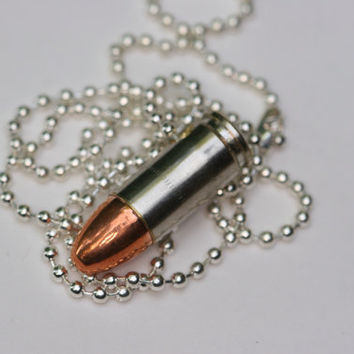 Bullet jewelry, 9mm caliber brass nickel bullet necklace, bullet necklace