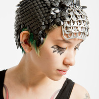 Black Scalemaille/ Chainmaille headpiece