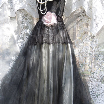 Black tulle dress cupcake goth fairytale by vintageopulence