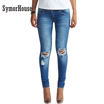 Women's new fashion new style jeans Full Length high waist Ripped jeans Skinny Hole Denim Pencil Pants Stretch Waist Women Jeans